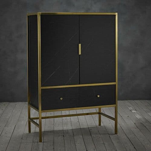 BLACK MARBLE EFFECT GOLD WINE BAR DRINKS CABINET
